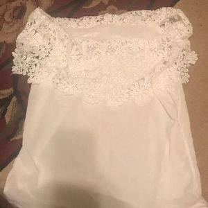 Tops - Women's off the shoulder white lace summer top